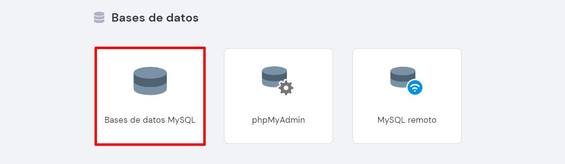 Bases de datos MySQL en el hPanel de Hostinger