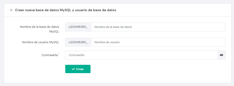 Completar los detalles de la base de datos