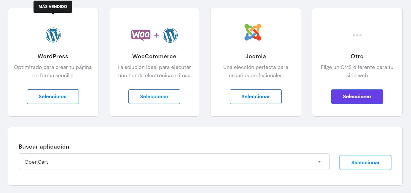 Buscar OpenCart en el hPanel