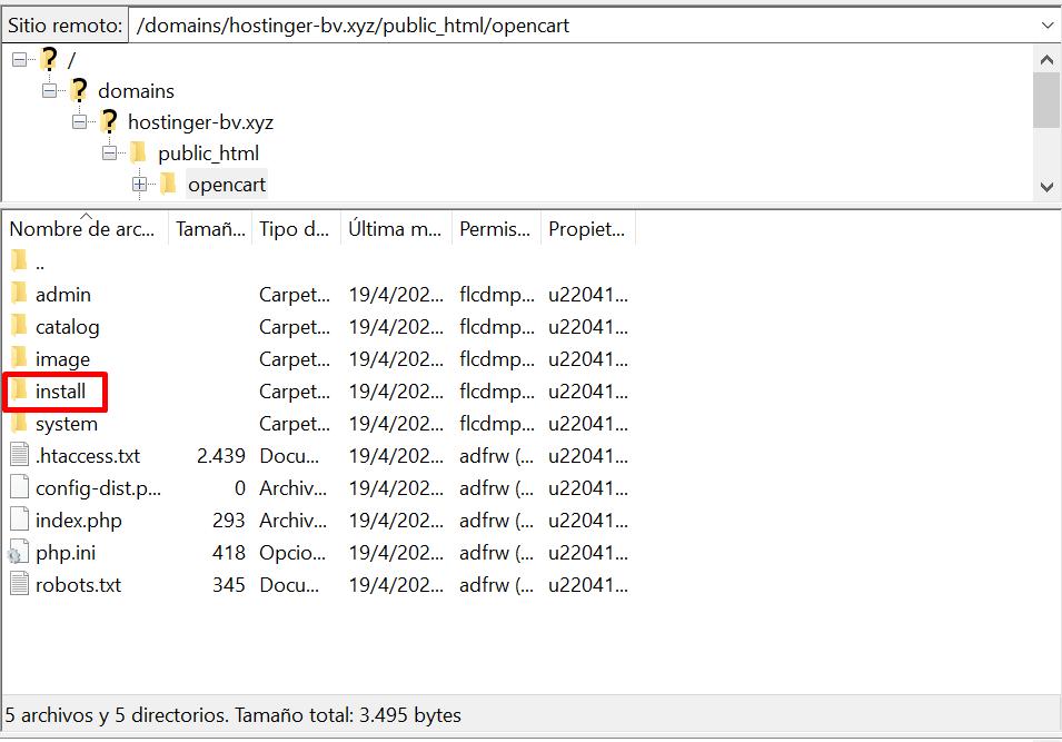 Borrar la carpeta de instalación de OpenCart en Filezilla