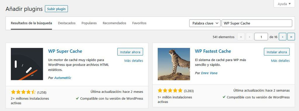 Buscando un plugin en WordPress
