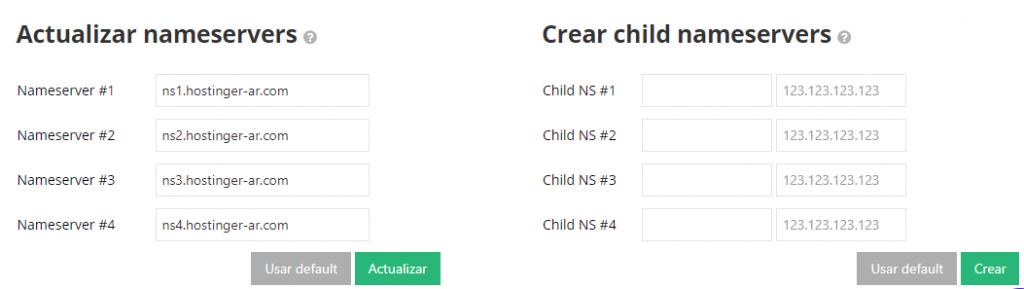 Actualizar la sección de servidores de nombres en el menú Dominios de Hostinger