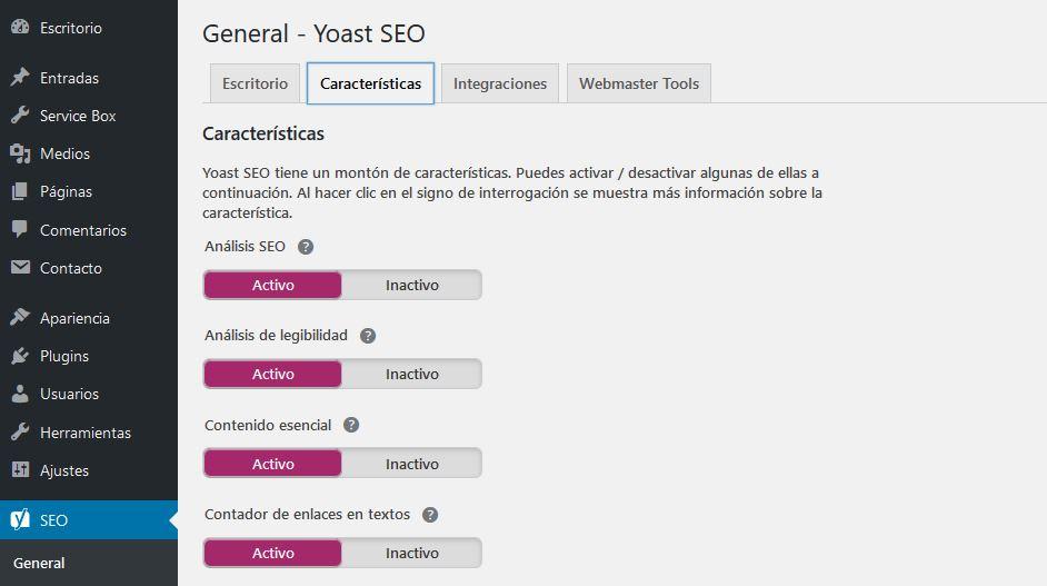 Características de Yoast Seo en WordPress