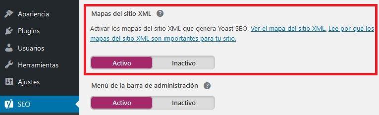 Habilitando Mapas de Sitio XML de Yoast Seo en WordPress