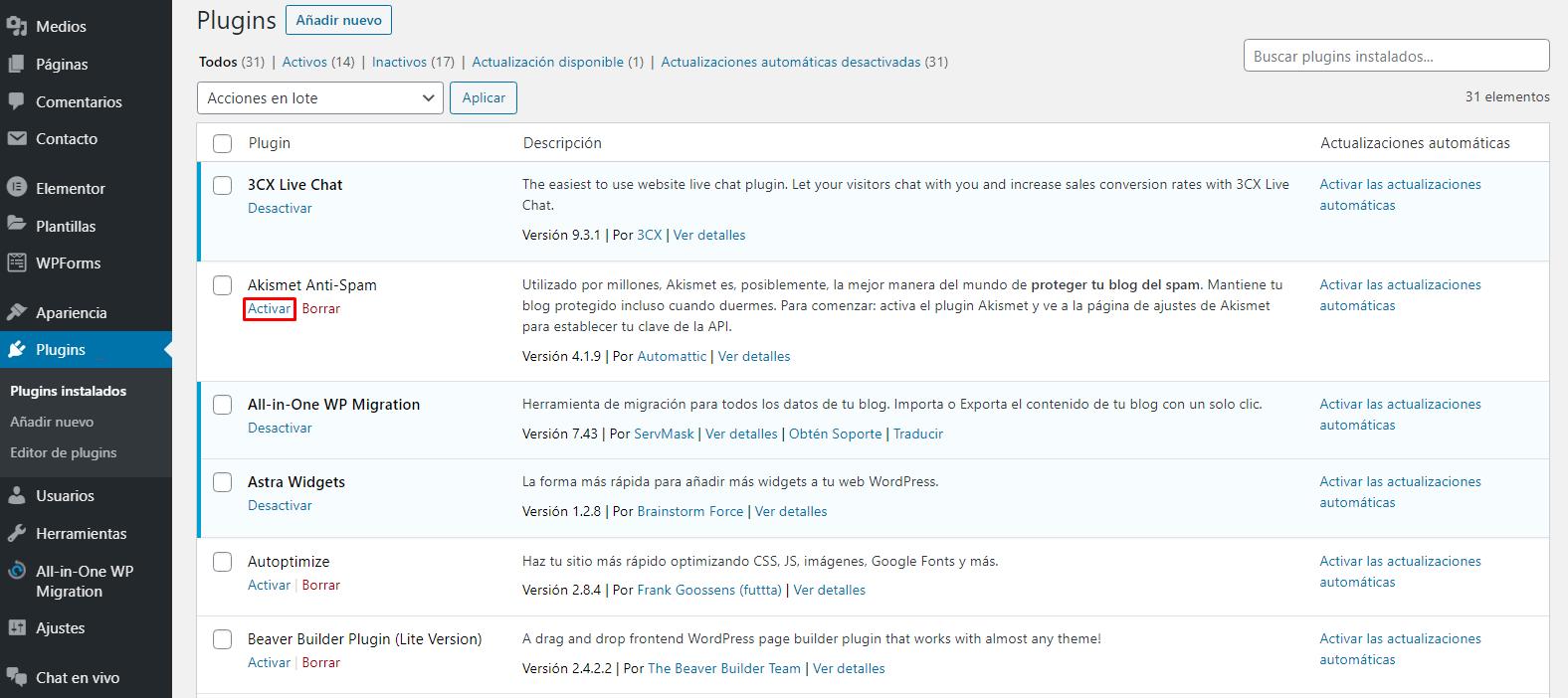 Activar plugin en el panel de WordPress