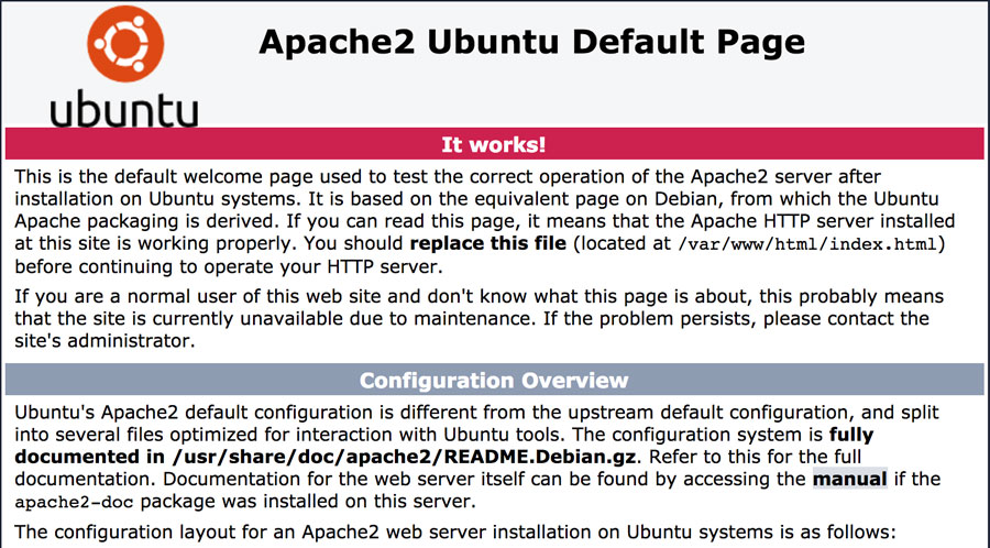 apache-2-pagina predeterminada ubuntu