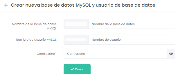 Base de datos MySQL y usuario