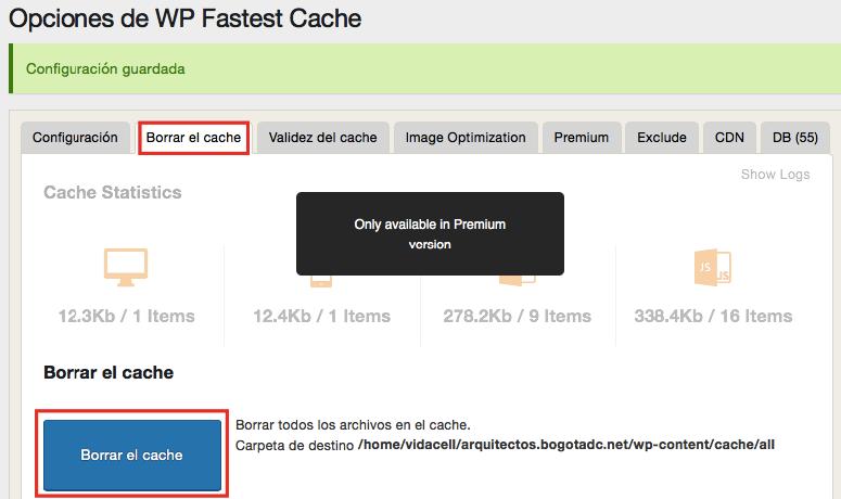 borrar el cache en WP Fastest Cache