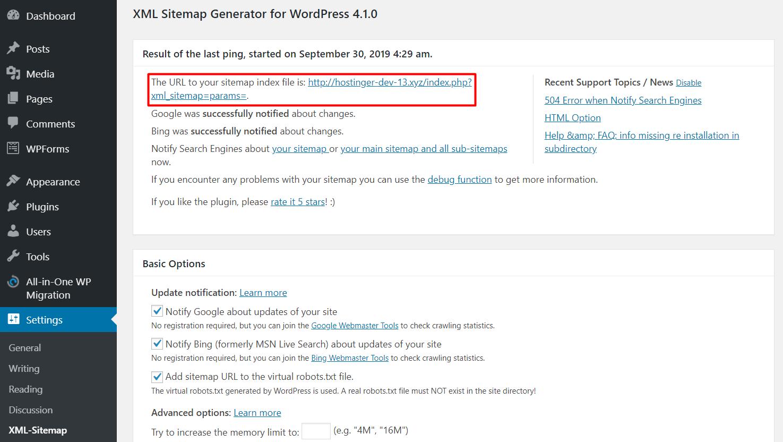 Usando el plugin XML Sitemap de Google en WordPress