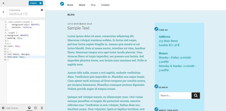 Edición de la fuente del tema secundario de WordPress.