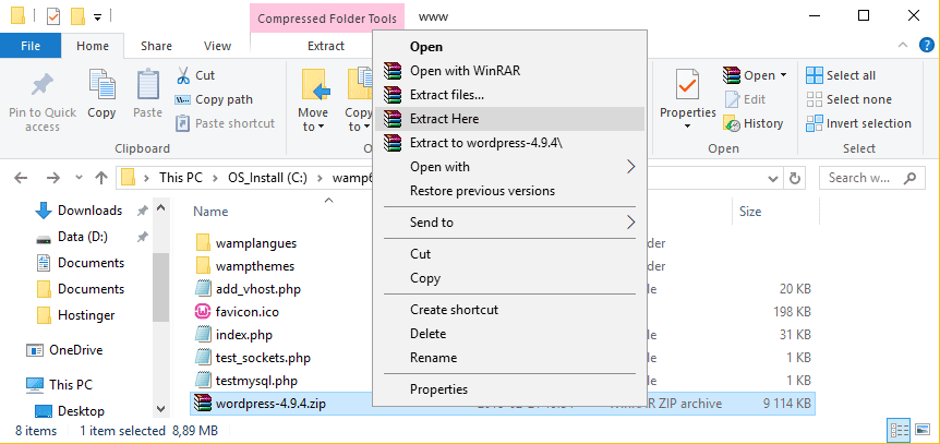 extraer-instalacion-de wordpress-a-raiz-wamp