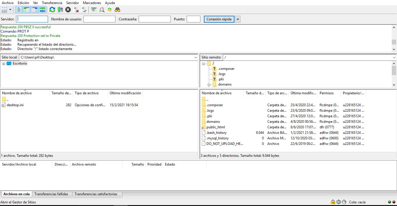 Ejemplo de gestión de sitio exitosa en Filezilla