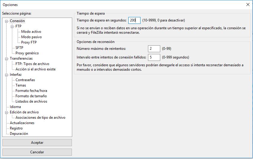Ejemplo de la página de Opciones de Filezilla donde puedes cambiar el tiempo que intenta conectar con el servidor