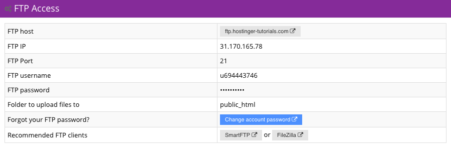 hostinger-datos de acceso ftp