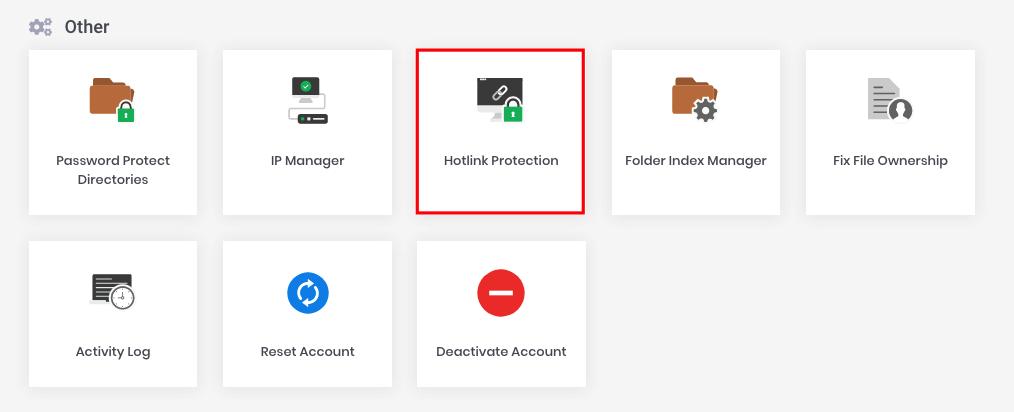 Opción de protección de enlace directo en la categoría Otros en hPanel hotlink