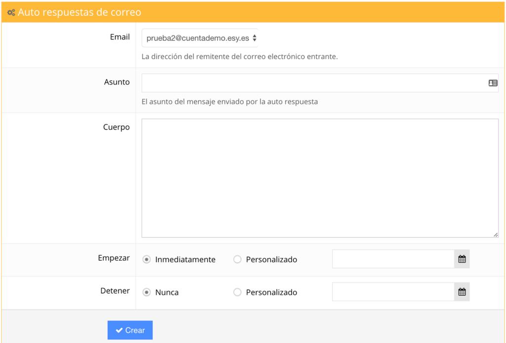configurar respuestasautomaticas desde cPanel