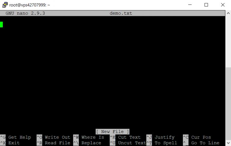 La interfaz del editor de texto nano