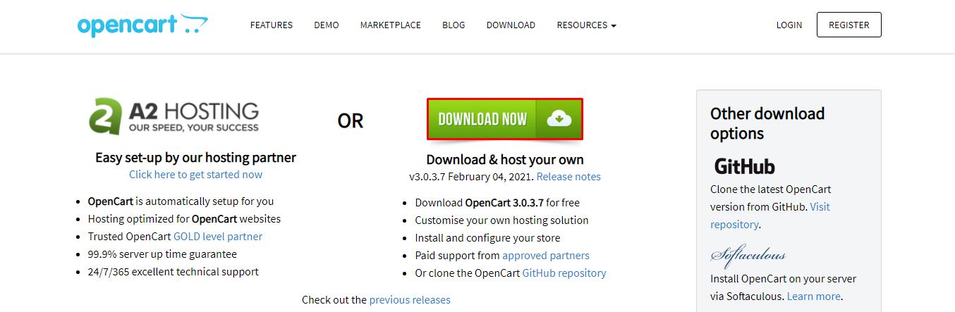 Página oficial de descarga de OpenCart
