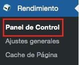 panel de control W3 total cache