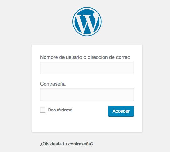 Una pantalla de inicio de sesión de WordPress.