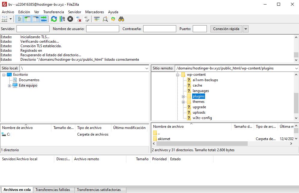 Ir a la carpeta plugins en el cliente FTP Filezilla