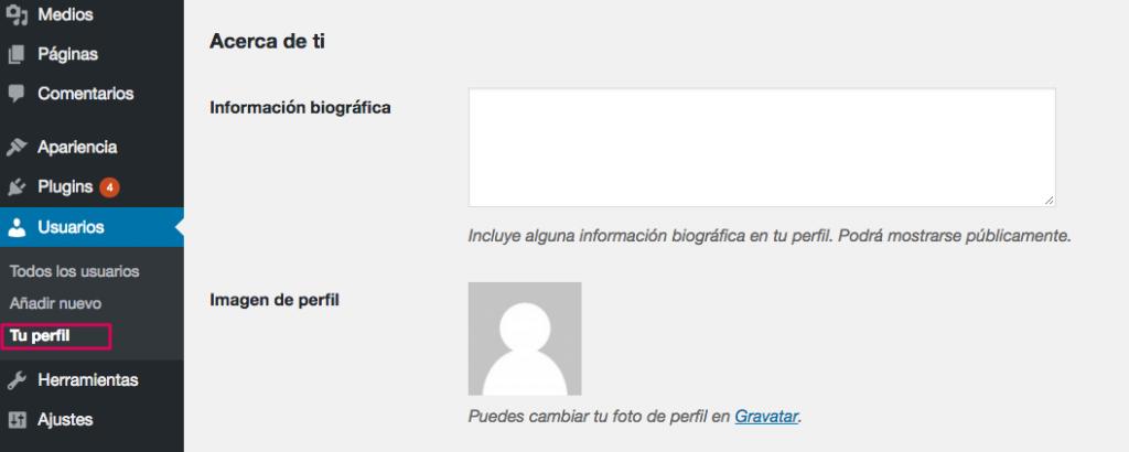 Tu perfil de información usuario.
