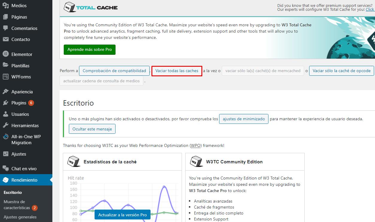 Borrar cache de WordPress con W3 Total Cache