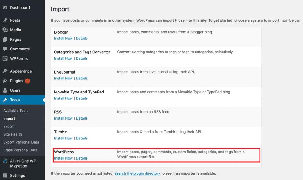 Instalación de la herramienta de importación de WordPress.