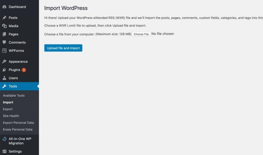 Importación de archivos de Squarespace a su sitio web de WordPress.
