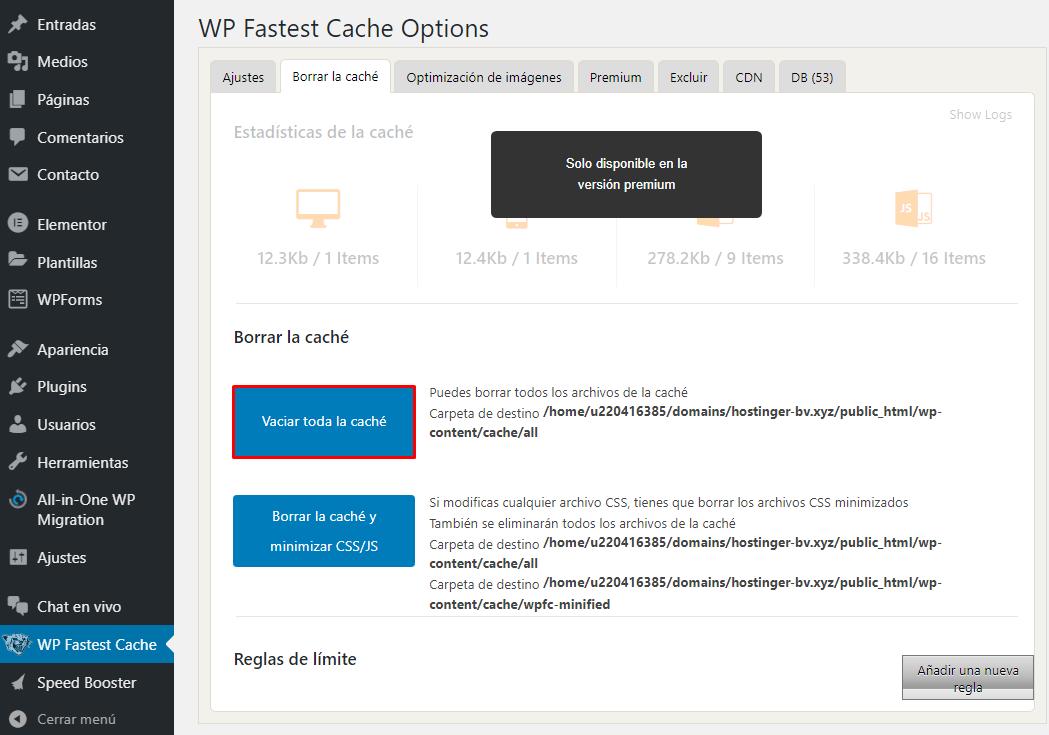 Borrar la caché de WordPress con WP Fastest Cache