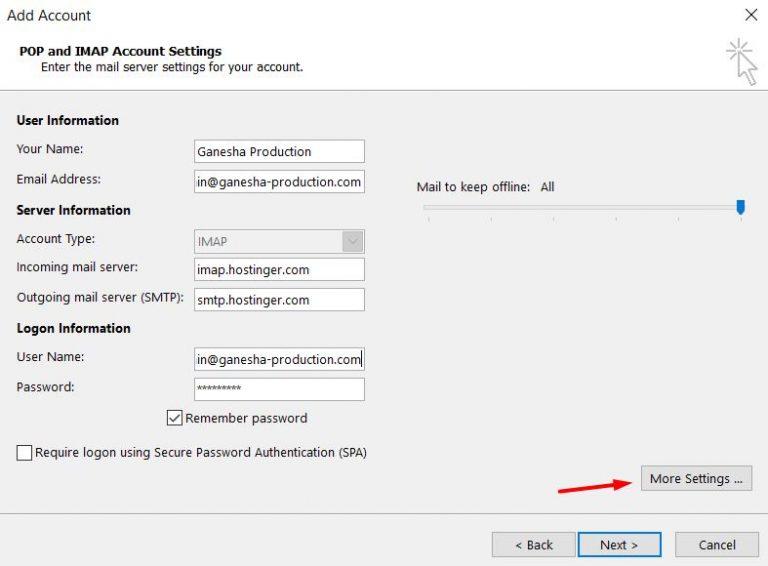 Completar los detalles de IMAP en Microsoft Outlook 2013.