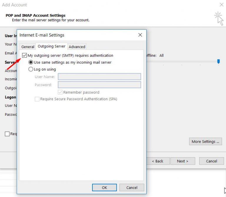 Configuración de la autenticación del servidor saliente en Microsoft Outlook 2013.