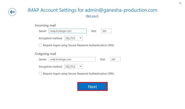 Configurar IMAP en Microsoft Outlook 2019
