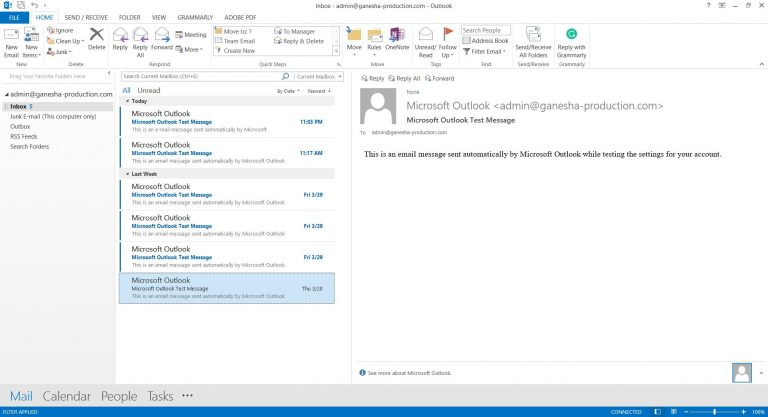 Interfaz de Microsoft Outlook 2013.