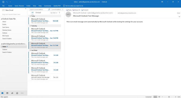 Interfaz de Microsoft Outlook 2019.