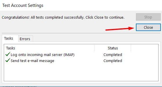 Un mensaje de cuenta de prueba exitoso en Microsoft Outlook 2013