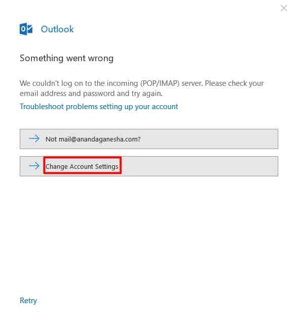Un mensaje de error que aparece en Microsoft Outlook 2016