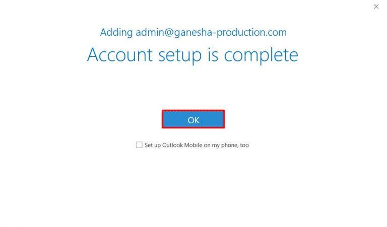 Una pantalla que aparece cuando se completa la configuración de una cuenta (Microsoft Outlook 2019)