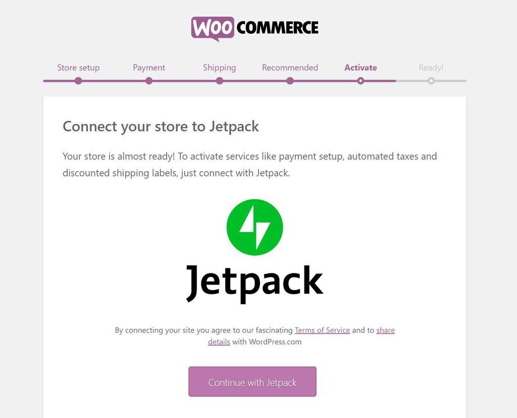 Activando Jetpack en WooCommerce.