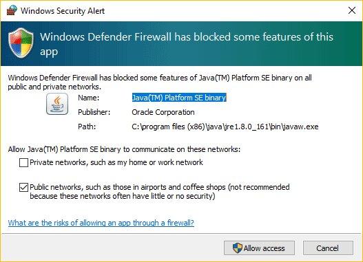 Esta imagen muestra cómo permitir servidores de Minecraft a través del firewall