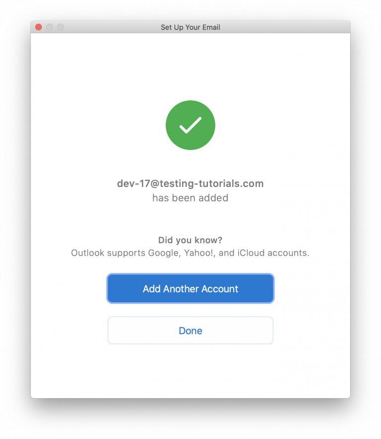 Ingrese la contraseña de su dirección de correo electrónico, haga clic en Conectar y espere a que finalice el proceso. Si tiene éxito, aparecerá la siguiente ventana.