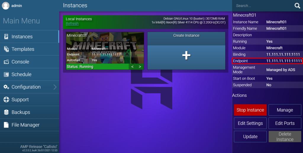 Dirección IP Endpoint en el panel de juegos