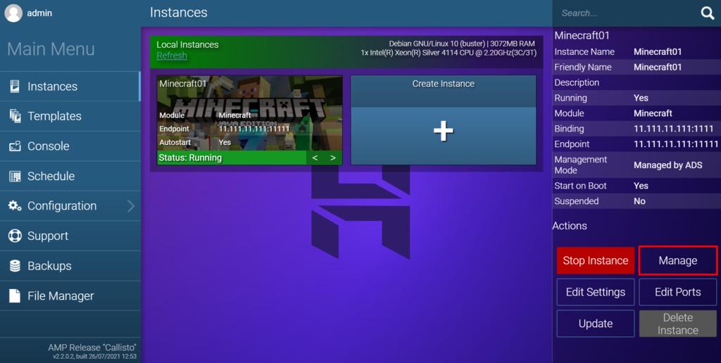 Configurar el servidor en el panel de juegos