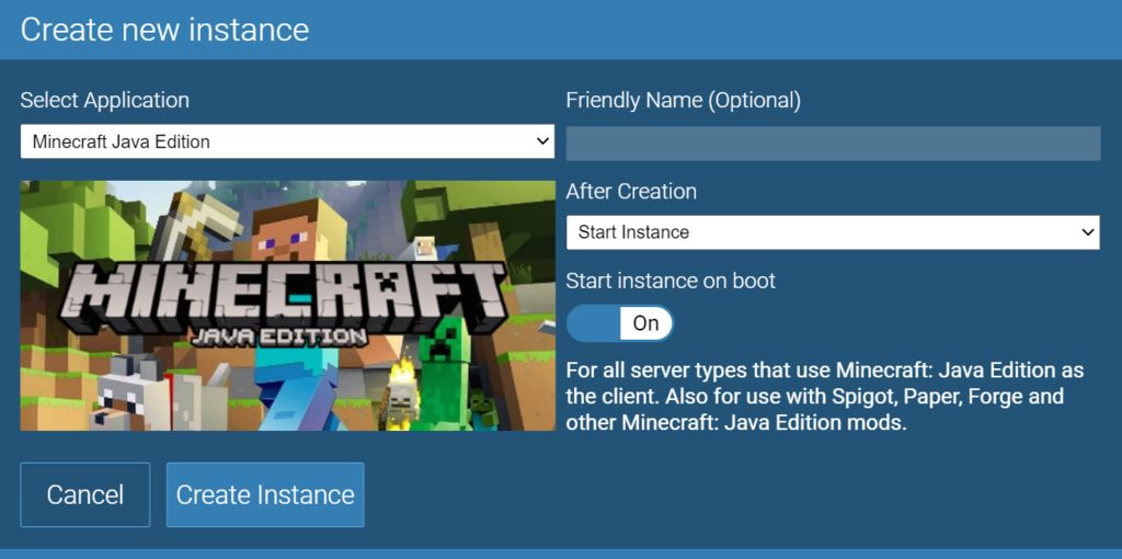 Nueva instancia en el panel de juevos de Minecraft