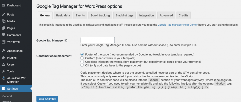 opciones para configurar el administrador de etiquetas de Google para wordpress