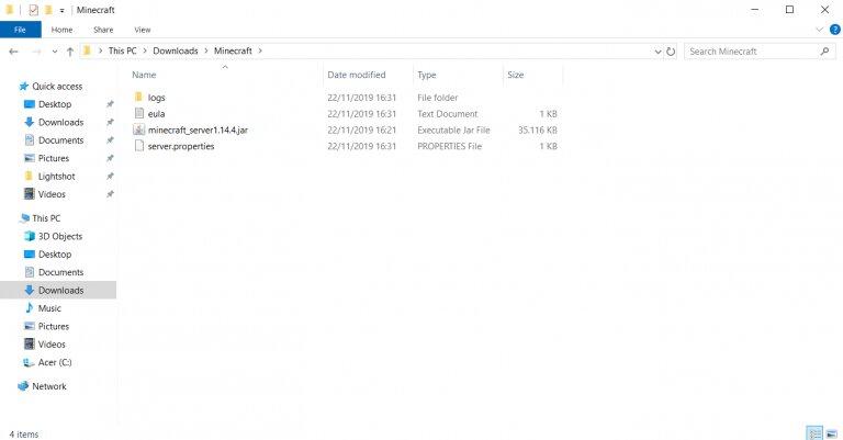 Archivos del servidor de Minecraft en una carpeta de Windows