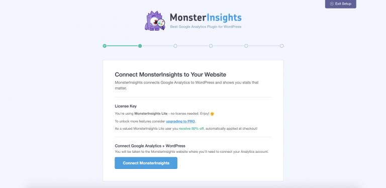 Conectando MonterInsights con su cuenta de Google Analytics