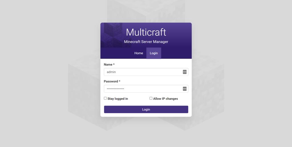 Página de login de MultiCraft