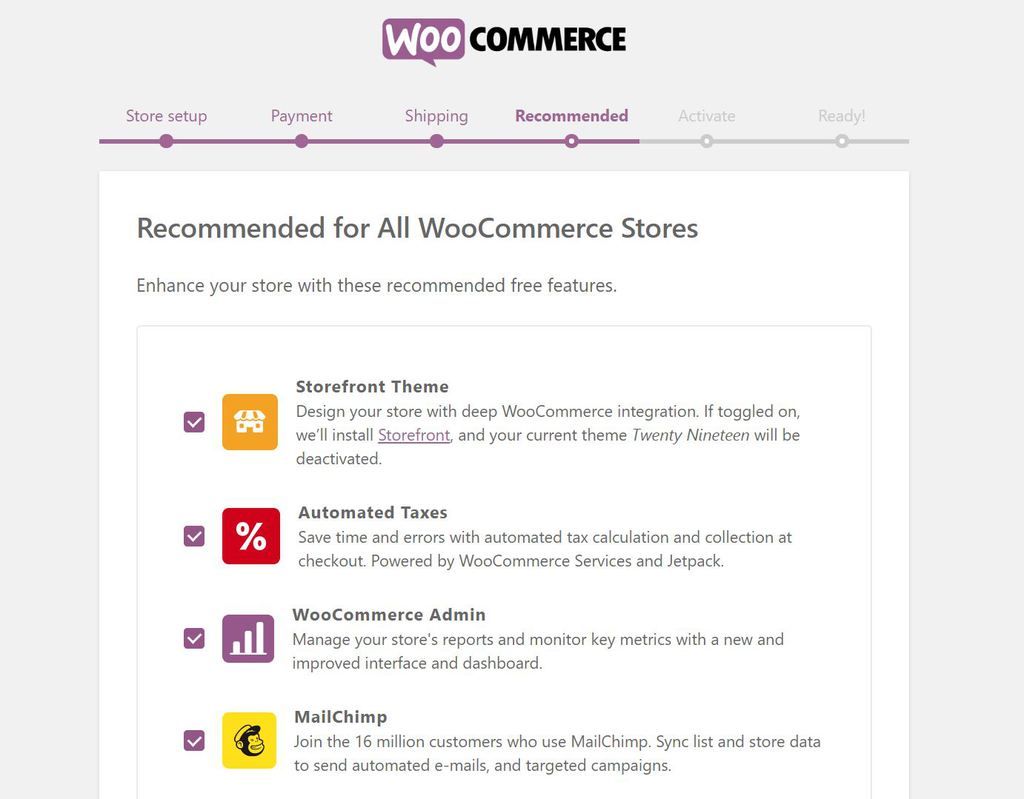 Habilitar extensiones recomendadas en WooCommerce.