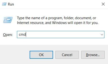 La aplicación Ejecutar para abrir el símbolo del sistema en Windows
